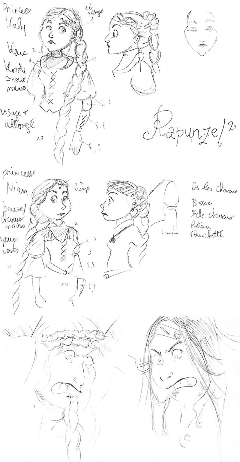 Etudes de personnages pour Rapunzel x2