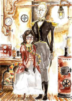 Portrait aquarelle dans un décor steampunk